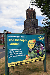 Sign outside Norwich Puppet Theatre promoting The Bishop's Gardens open day, Norwich UK.  Throughout the summer, the garden is open raising money for various local charities. July 2018