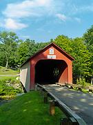 Image of the famous Green River Covered Bridge, near Brattleboro, Vermont, USA.