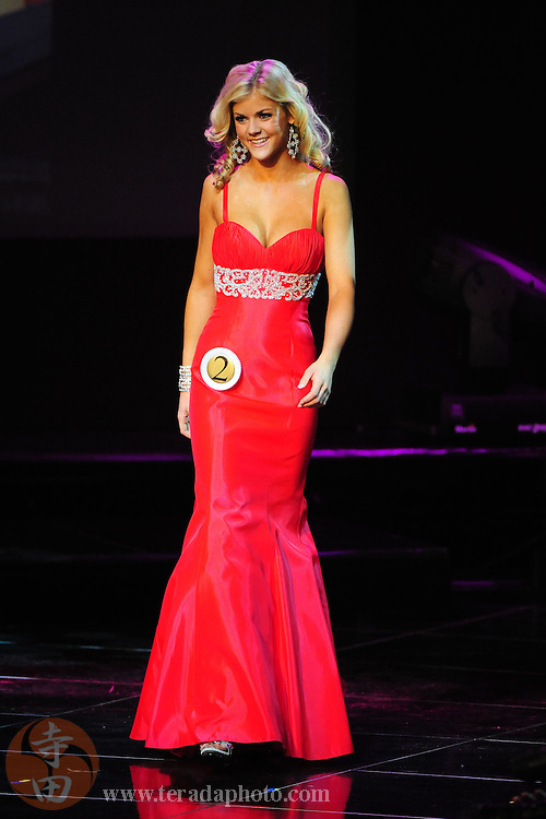 """November 22, 2009; Rancho Mirage, CA, USA; Miss Temecula Teen USA Kelsey Hutchison showcases her evening gown during the top 10 third round of the Miss California Teen USA 2010 Pageant at """"The Show"""" at the Agua Caliente Resort & Spa. Mandatory Credit: Kyle Terada-Terada Photo"""