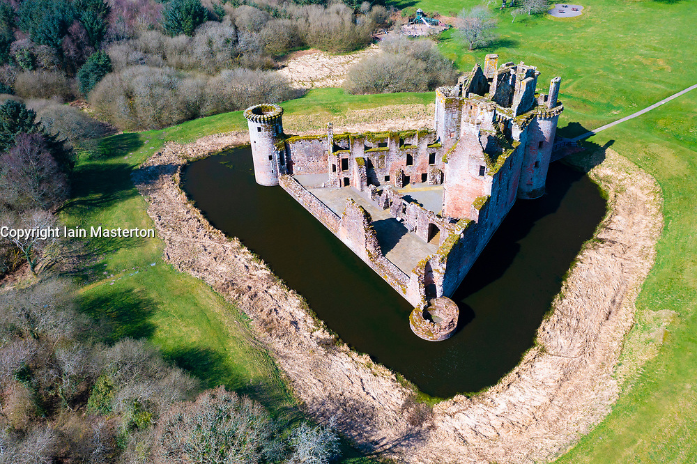 Aerial view of Caerlaverock Castle in Dumfries and Galloway, Scotland, UK