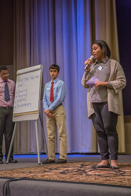 Purchase, NY – 31 October 2014. The team from White Plains High School presenting. (Left to right: Frank Marte,  Matthew Garrison, Alisa  Chaibay.) White Plains High School went on to take first place in the 2014 competition. The Business Skills Olympics was founded by the African American Men of Westchester, is sponsored and facilitated by Morgan Stanley, and is open to high school teams in Westchester County.