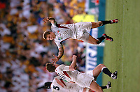 Photo: Richard Lane.<br />Australia v England. Rugby World Cup Final, at the Telstra Stadium, Sydney. RWC 2003. 22/11/2003. <br />Jonny Wilkinson celebrates with Will Greenwood on the final whistle.