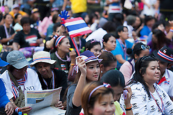 © Licensed to London News Pictures. 05/01/2014. An Anti-Governement Protestor waves a small Thai flag at a Rally during the third day of the 'Bangkok Shutdown' as anti-government protesters continue with their 'shutdown' of Bangkok.  Major intersections in the heart of the city have been blocked in their campaign to oust Prime Minister Yingluck Shinawatra and her government in Bangkok, Thailand. Photo credit : Asanka Brendon Ratnayake/LNP