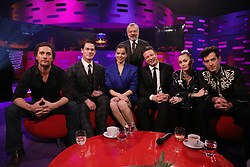 Host Graham Norton with (seated left to right) Matthew McConaughey, John Cena, Hailee Steinfeld, Jamie Oliver, Miley Cyrus and Mark Ronson during the filming for the Graham Norton Show at BBC Studioworks 6 Television Centre, Wood Lane, London, to be aired on BBC One on Friday evening. PRESS ASSOCIATION. Picture date: Thursday December 6, 2018. Photo credit should read: PA Images on behalf of So TV