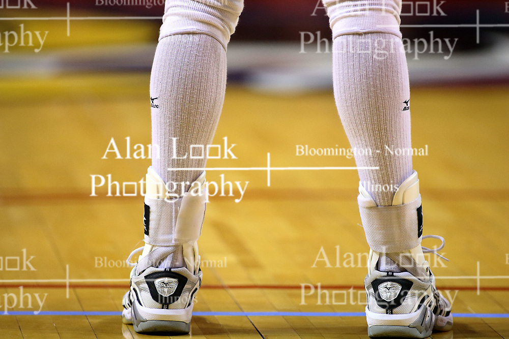21 September 2007:  Athletic footwear and leg wear for the common volleyball player. The Wichita State Shockers bested the the Illinois State Redbirds on the floor of Doug Collins Court in Redbird Arena on the campus of Illinois State University in Normal Illinois taking the match in three games.