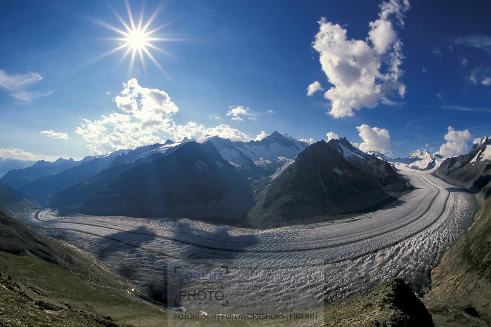 Überblick über den Aletschgletscher vom Zungenende bis zum Jungfraujoche mit Aletschhorn im Zentrum.<br /> Overview over the glacier Aletschgletscher from the tongue up to Jungfraujoch with mount Aletschhorn in the centre.