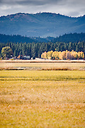 Headquarters buliding in the autumn across the lake at Conboy Lake National Wildlife Refuge, Klickitat County, WA, USA