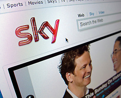 Detail of screenshot of Sky television website homepage