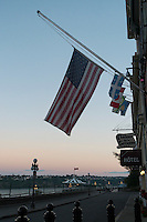 U.S. Flag at Half-Mast on 9/11 at Upper Town Old Quebec, Quebec City, QC, Canada