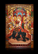 Gothic Altarpiece of the Madonna Nursing or Madonna Lactans, by Ramon de Mur, active around Tarrega and Montblanc circa 1412-1435, tempera and gold leaf on for wood, from the parish church of Santa Maria de Cervera (Segarra),  National Museum of Catalan Art, Barcelona, Spain, inv no: MNAC  15818. Against a black background. . .<br /> <br /> If you prefer you can also buy from our ALAMY PHOTO LIBRARY  Collection visit : https://www.alamy.com/portfolio/paul-williams-funkystock/gothic-art-antiquities.html  Type -     MANAC    - into the LOWER SEARCH WITHIN GALLERY box. Refine search by adding background colour, place, museum etc<br /> <br /> Visit our MEDIEVAL GOTHIC ART PHOTO COLLECTIONS for more   photos  to download or buy as prints https://funkystock.photoshelter.com/gallery-collection/Medieval-Gothic-Art-Antiquities-Historic-Sites-Pictures-Images-of/C0000gZ8POl_DCqE