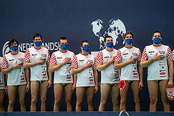Croatia before the match against Netherlands during the Olympic qualifying tournament. The Dutch water polo players are on the hunt for a starting ticket for the Olympic Games on February 15, 2021 in Rotterdam