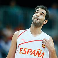 06 August 2012: Spain Jose Calderon rests during 88-82 Team Brazil victory over Team Spain, during the men's basketball preliminary, at the Basketball Arena, in London, Great Britain.