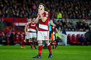 CORRECTION :- Middlesbrough defender, on loan from Arsenal, Calum Chambers (25) holds his head as Middlesbrough defender Daniel Ayala (4) is sent off and receives a red card during the The FA Cup match between Middlesbrough and Sheffield Wednesday at the Riverside Stadium, Middlesbrough, England on 8 January 2017. Photo by Simon Davies.