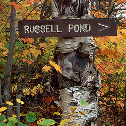 Near Russell Pond, Baxter State Park, ME. Recreation Trail Signs. A sign points the way to Russell Pond in Maine's Baxter State Park.