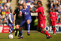 Photo:  Frances Leader.<br /> Gillingham FC v Cardiff City FC. Coca Cola Championship. <br /> Priestfield Stadium<br /> 30/04/05<br /> Gillingham's Paul Smith and  Cardiff's Richard Langley fight for the ball