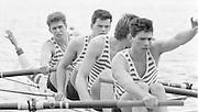 Nottingham. United Kingdom. <br /> Bow. C. BARTLETT, 2. Jim GARMAN, 3. Colin GREENAWAY and Stroke Richard PHELPS<br /> Nottingham International Regatta, National Water Sport Centre, Holme Pierrepont. England<br /> <br /> 31.05.1986 to 01.06.1986<br /> <br /> [Mandatory Credit: Peter SPURRIER/Intersport images] 1986 Nottingham International Regatta, Nottingham. UK