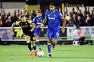 AFC Wimbledon midfielder Liam Trotter (14) dribbling during the EFL Sky Bet League 1 match between AFC Wimbledon and Rotherham United at the Cherry Red Records Stadium, Kingston, England on 17 October 2017. Photo by Matthew Redman.