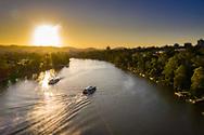 Aerial view of two citycat ferries on the Brisbane River, Dutton Park, Brisbane, Queensland, Australia