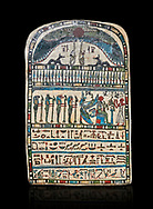 Ancient Egyptian stele dedicated by high priest Padiamenemipet to Ra-Harakhty, limestone, Late Period, 26th Dynasty, (580-520 BC), Deir el-Medina, Cat 1574. Egyptian Museum, Turin. black background,<br /> <br /> the round topped stele is dedicated by high priest Padiamenemipet to Ra-Harakht, Isis and the 4 sons of Horus. It was gifted by the Cairo Museum. .<br /> <br /> If you prefer to buy from our ALAMY PHOTO LIBRARY  Collection visit : https://www.alamy.com/portfolio/paul-williams-funkystock/ancient-egyptian-art-artefacts.html  . Type -   Turin   - into the LOWER SEARCH WITHIN GALLERY box. Refine search by adding background colour, subject etc<br /> <br /> Visit our ANCIENT WORLD PHOTO COLLECTIONS for more photos to download or buy as wall art prints https://funkystock.photoshelter.com/gallery-collection/Ancient-World-Art-Antiquities-Historic-Sites-Pictures-Images-of/C00006u26yqSkDOM