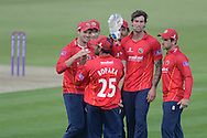 Reece Topley and Essex Celebrate a wicket during the Royal London One Day Cup match between Hampshire County Cricket Club and Essex County Cricket Club at the Ageas Bowl, Southampton, United Kingdom on 4 August 2015. Photo by David Vokes.