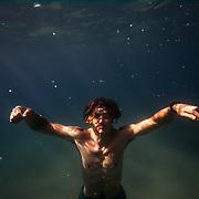 Gage Beckstrand diving into Lake Tahoe.<br /> <br /> <br /> Images by Trevor Clark of CLARKBOURNE Creative.