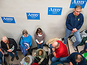26 JANUARY 2020 - DES MOINES, IOWA: People listen to US Senator Amy Klobuchar speak during a campaign event in Des Moines Sunday evening. Sen. Klobuchar campaigned to support her candidacy for the US Presidency Sunday in central Iowa during the one day break from the impeachment trial of President Trump. She is trying to capitalize on her recent uptick in national polls. Iowa holds the first selection event of the presidential election cycle. The Iowa Caucuses are Feb. 3, 2020.      PHOTO BY JACK KURTZ