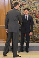 King Felipe VI of Spain receives moto riders Marc Marquez during Royal Audience at Zarzuela Palace in Madrid, Spain. November 20, 2014. (ALTERPHOTOS/Victor Blanco)