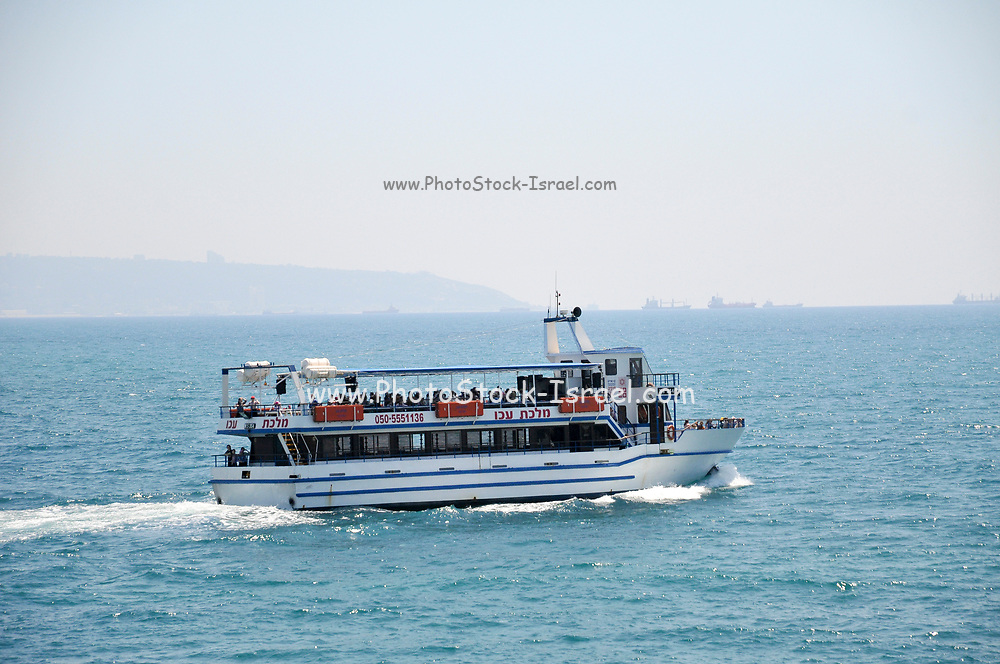 Tourist boat out of the Old Port of Acre, Israel,