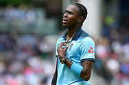 Jofra Archer of England during the ICC Cricket World Cup 2019 Final match between New Zealand and England at Lord's Cricket Ground, St John's Wood, United Kingdom on 14 July 2019.