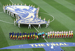 MOSCOW, July 15, 2018  Players of France and Croatia are seen prior to the 2018 FIFA World Cup final match between France and Croatia in Moscow, Russia, July 15, 2018. (Credit Image: © Xu Zijian/Xinhua via ZUMA Wire)