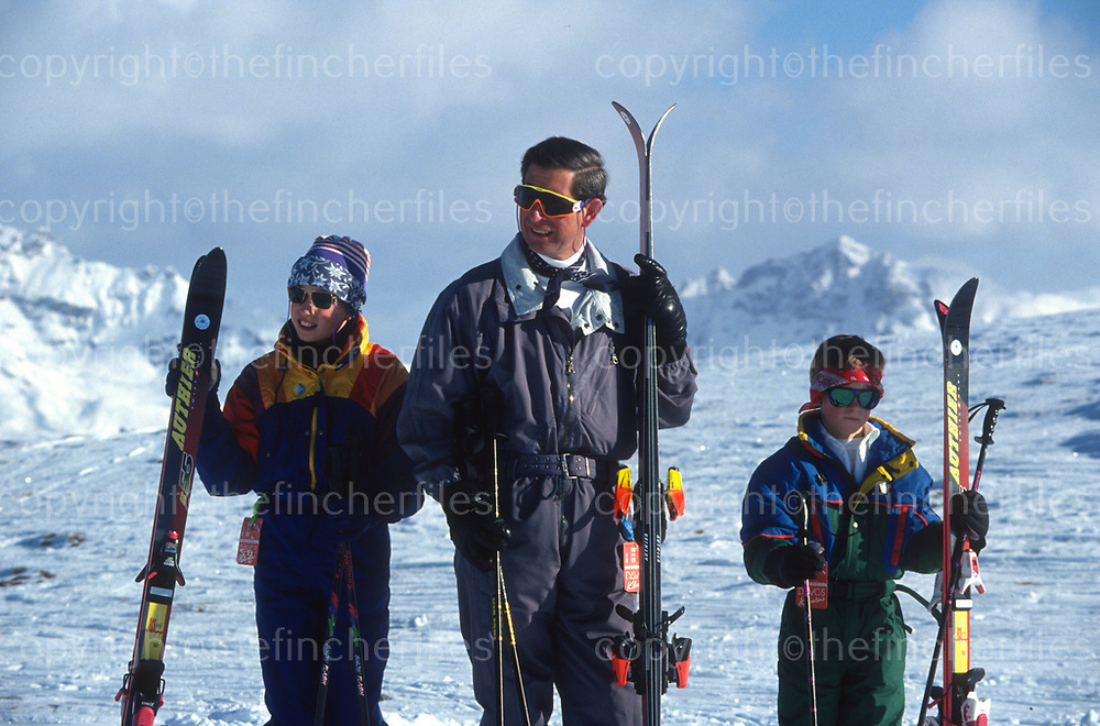 The Prince of Wales with sons Prince William and Prince Harry during a ski holiday in Klosters, Switzerland in 1994. Photograph by Jayne Fincher