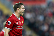 James Milner of Liverpool shouts instructions. Premier League match, Liverpool v Huddersfield Town at the Anfield stadium in Liverpool, Merseyside on Saturday 28th October 2017.<br /> pic by Chris Stading, Andrew Orchard sports photography.