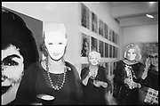 Kathleen Zimbimcki; Adrienne Heinrich; Eleanor Kriedberg wearing Warhol masks. Opening of the Warhol museum. Pittsburg. 1994.<br /> <br /> SUPPLIED FOR ONE-TIME USE ONLY> DO NOT ARCHIVE. © Copyright Photograph by Dafydd Jones 248 Clapham Rd.  London SW90PZ Tel 020 7820 0771 www.dafjones.com