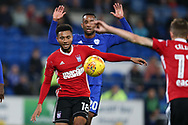 Grant Ward of Ipswich Town (18) in action. EFL Skybet championship match, Cardiff city v Ipswich Town at the Cardiff city stadium in Cardiff, South Wales on Tuesday 31st October 2017.<br /> pic by Andrew Orchard, Andrew Orchard sports photography.