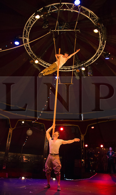 © Licensed to London News Pictures. 19/05/2015. London, UK. Shoulder Pole performed by David Carberry and Skip Walker Milne. The show Scotch & Soda headlines London Wonderground from 14 May to 2 August 2015 as Underbelly and Southbank Centre present a 4th summer of entertainment.  Photo credit : Bettina Strenske/LNP