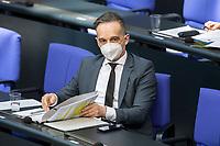 05 MAR 2021, BERLIN/GERMANY:<br /> Heiko Maas, SPD, Bundesaussenminister,, waehrend der Debatte zum Internationalen Frauentag; Plenum, Reichstagsgebaeude, Deutscher Bundestag<br /> IMAGE: 20210305-01-048<br /> KEYWORDS: Maske, Mundschutz, Covid-19, Corona