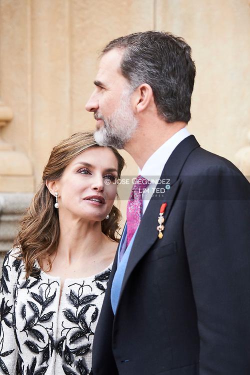 King Felipe VI of Spain, Queen Letizia of Spain attended 'Cervantes Award' to Eduardo Mendoza at the Alcala de Henares University on April 20, 2017 in Alcala de Henares, near of Madrid, Spain
