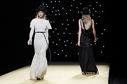September 17, 2016 - Madrid, Madrid, Spain - A models walks during Juanjo Oliva  Fashion Show at Madrid Fashion Week Spring/Summer 2017/18 at Ifema, on September 17, 2016, in Madrid, Spain  (Credit Image: © Oscar Gonzalez/NurPhoto via ZUMA Press)
