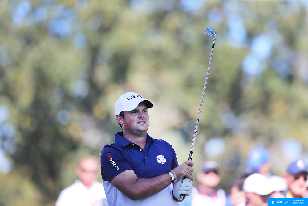 Ryder Cup 2016. Day Three. Patrick Reed of the United States in action during the Sunday singles competition at  the Ryder Cup tournament at Hazeltine National Golf Club on October 02, 2016 in Chaska, Minnesota.  (Photo by Tim Clayton/Corbis via Getty Images)