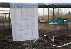 © Licensed to London News Pictures.  18/02/2015. Bristol, UK.  Bristol Metrobus protest.  Protesters have dug tunnels as well as tree houses to block the proposed Bristol Metrobus junction off the M32 which will remove trees and allotments on prime agricultural land known as the 'blue finger'.  Protesters in the tunnels are called badgers and those in the trees are called squirrels.  Bristol City Council has obtained a possession order but as yet the bailiffs have not evicted the campaigners.  Photo credit : Simon Chapman/LNP