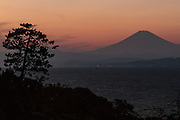 Mount Fuji at sunset from Enoshima Island, Kanagawa, Japan. Saturday January 2nd 2016