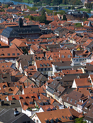 View across rooftops of old town of City of Heidelberg in Baden-Wurttemberg Germany