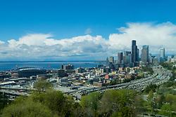 United States, Washington, Seattle, downtown skyline and Elliott Bay