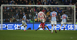 Eric Maxim Choupo-Moting of Stoke City (C) scores before it is ruled out for offside - Mandatory by-line: Jack Phillips/JMP - 26/12/2017 - FOOTBALL - The John Smith's Stadium - Huddersfield, England - Huddersfield Town v Stoke City - English Premier League
