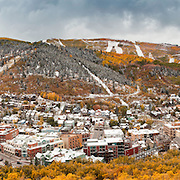 A 9 image sequence creates an ultra large panoramic of Park City during an early snow storm in the fall.