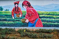 Chine, Province du Sichuan, Mingshan, jardins de thé  // China, Sichuan province, Mingshan, statue of Wu Lizhen, tea garden