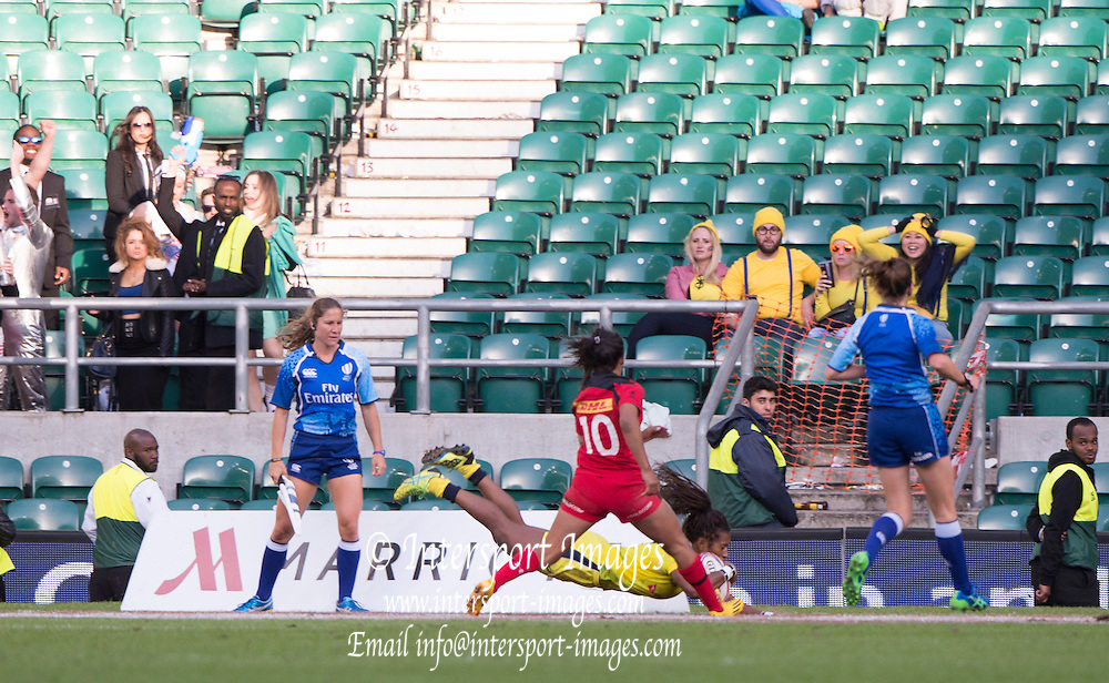 Twickenham, Great Britain, Allia GREEN with the winning try during the Women's Sevens Series, London, Cup final, Canada vs Australia.   Marriott London Sevens played at the  RFU Stadium, Twickenham, ENGLAND. Saturday 16.05.2015<br /> [Mandatory Credit; Peter Spurrier/Intersport-images]