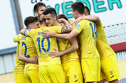 Players of Domzale celebrate after scoring second goal during football match between NK Domzale and NK Olimpija in 32nd Round of Prva liga Telekom Slovenije 2020/21, on May 5, 2021 in Sports park Domzale, Slovenia. Photo by Vid Ponikvar / Sportida