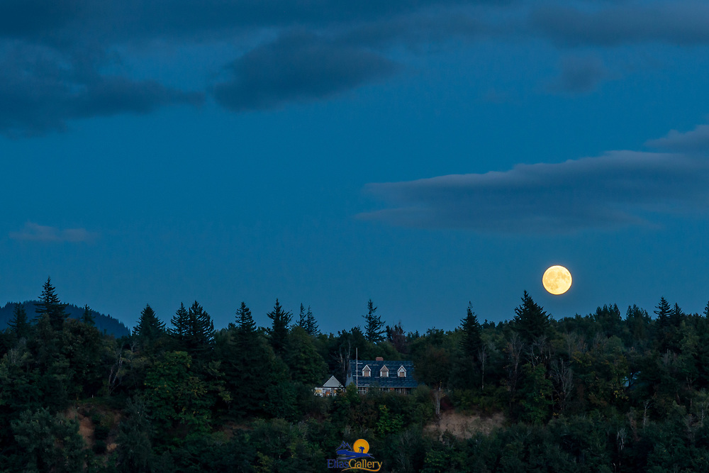 Full moon rising from the Portland Women's Forum State Scenic Viewpoint.