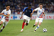 Ousmane Dembele of France and Wil Trapp of USA and Antonee Robinson of USA during the 2018 Friendly Game football match between France and USA on June 9, 2018 at Groupama stadium in Decines-Charpieu near Lyon, France - Photo Romain Biard / Isports / ProSportsImages / DPPI